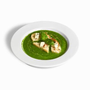 Крем-суп зі шпинату з міні грінками