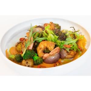 Креветки з соусом том ям, броколі та печеною картоплею (360 гр)